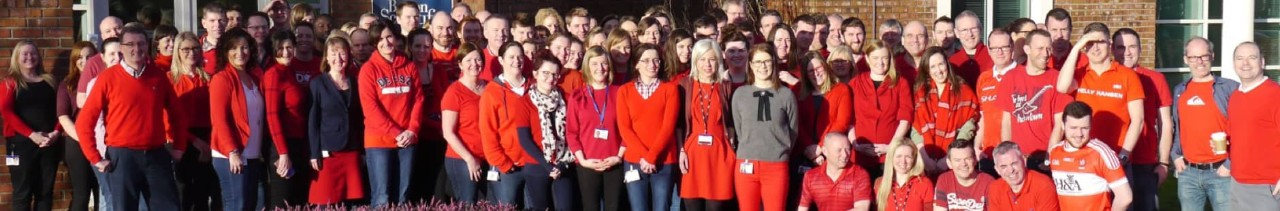 "Galway Boston Scientific employees show their support during ""Wear Red"" day"