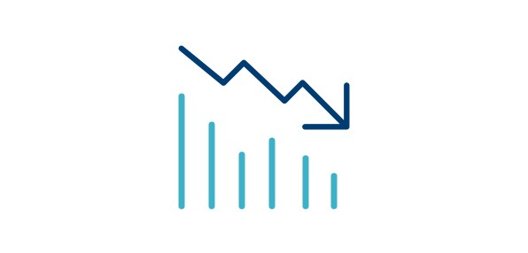 Icon of a bar chart with decreasing values and an arrow pointing down.