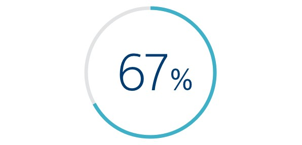 Icon of a circle with 67% in the middle.