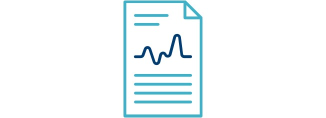 Icon of a piece of paper with a heartbeat going across.