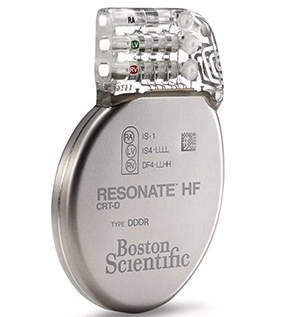 Front-facing RESONATE HF CRT-D defibrillator device