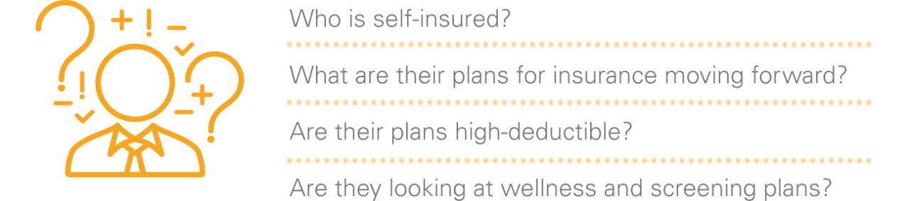 Who is self-insured? What are their plans for insurance moving forward? Are their plans high-deductible? Are they looking at wellness and screening plans?