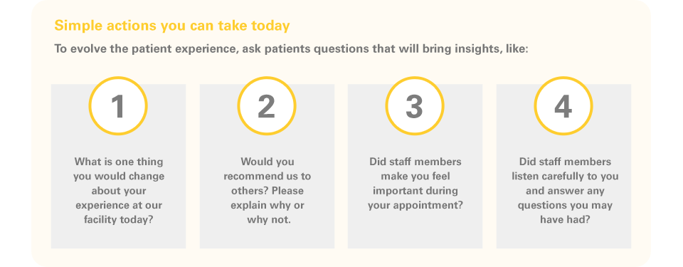 Simple actions you can take today  To evolve the patient experience, ask patients questions that will bring insights, like:  What is one thing you would change about your experience at our facility today?  Would you recommend us to others? Please explain why or why not.  Did staff members make you feel important during your appointment?   Did staff members listen carefully to you and answer any questions you may have had?