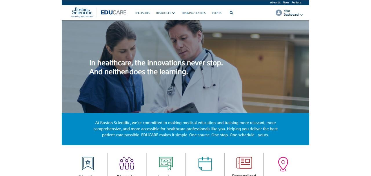 Screenshot of EDUCARE site