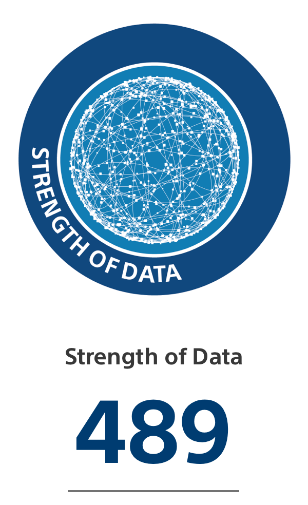 Blue circle with illustration of lines and dots depicting strength of data