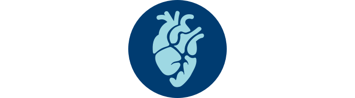 """Heart icon in blue circle with """"RV Function"""""""