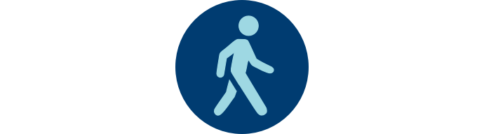 """Pedestrian icon in blue circle with """"Endurance"""""""