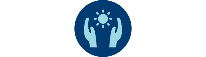 """Icon of hands framing the sun in blue circle with """"Quality of Life"""""""