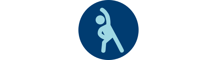 """Icon of person exercising in blue circle with """"Physical Functioning"""""""