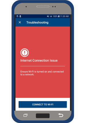 myLUX Patient app screen showing there is a connection issue.