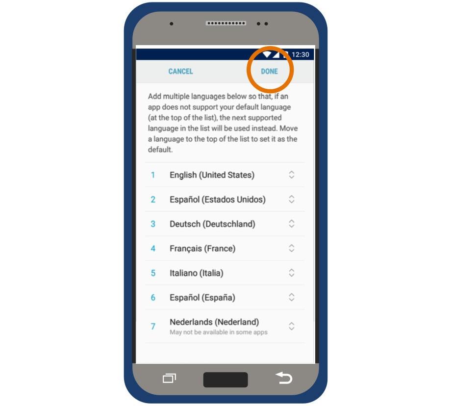 myLUX Patient app language settings screen.