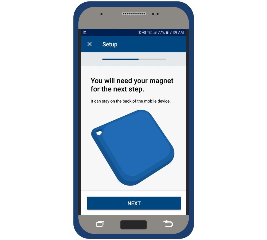 myLUX Patient app setup screen showing magnet.