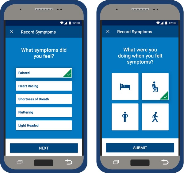 Two myLUX Patient app screens showing how to record your symptoms.