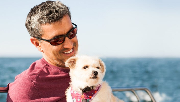 Man with Sunglasses and Dog, Outdoors