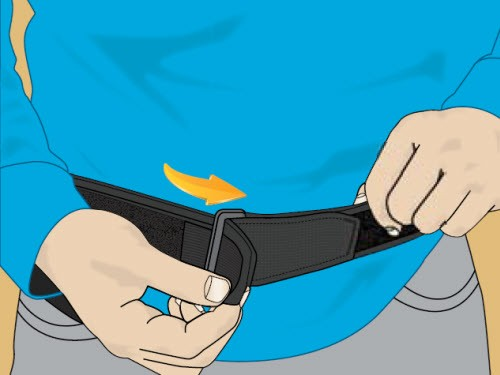 Illustration of person wrapping the SCS charger belt around own waist