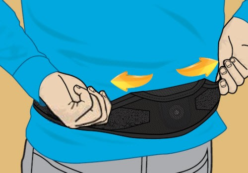 Illustration of person locating the spinal cord stimulator once charger belt is securely fastened
