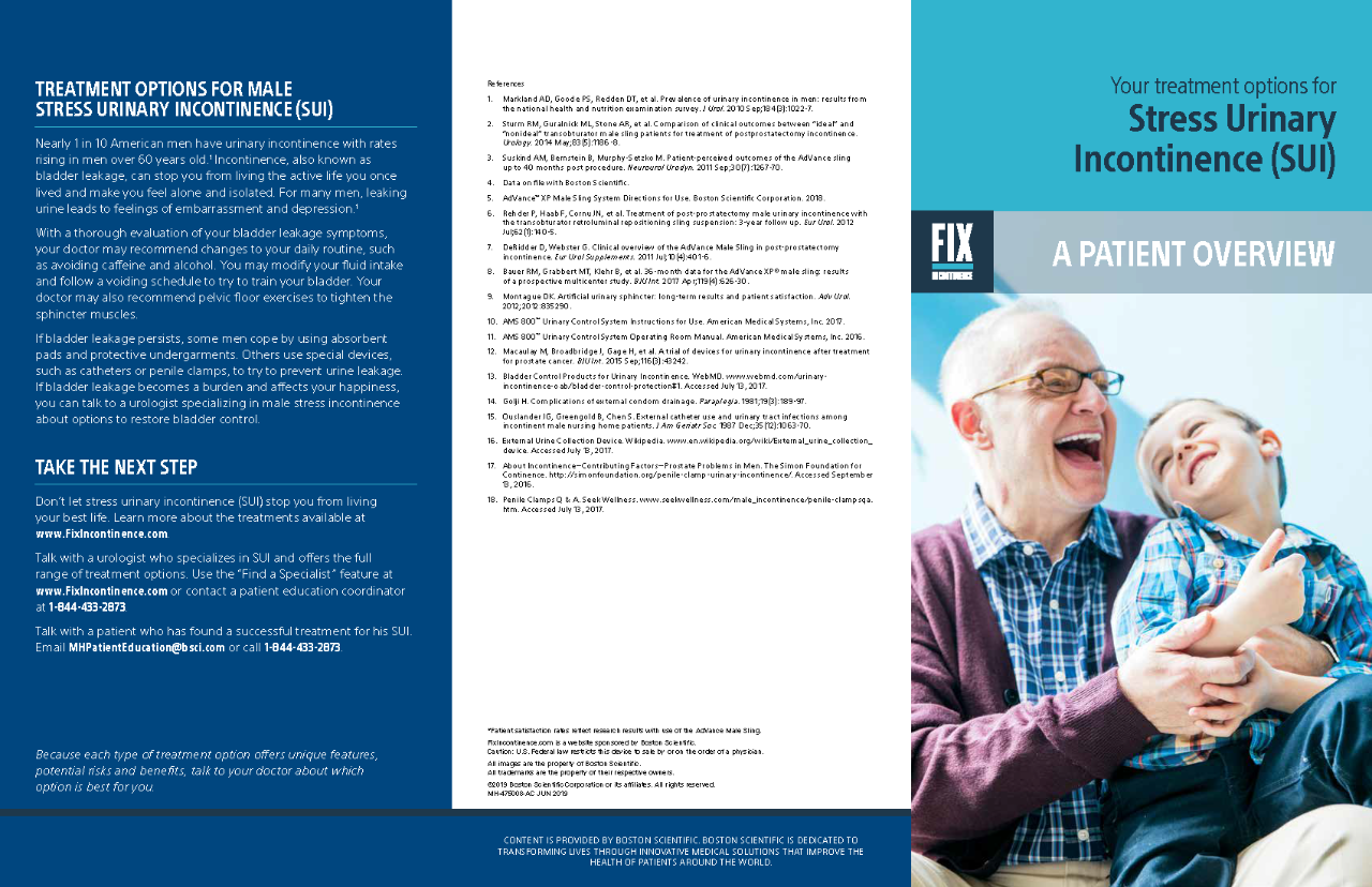 Male Continence Treatment Options Brochure