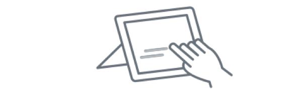 Icon of hand touching electronic tablet.
