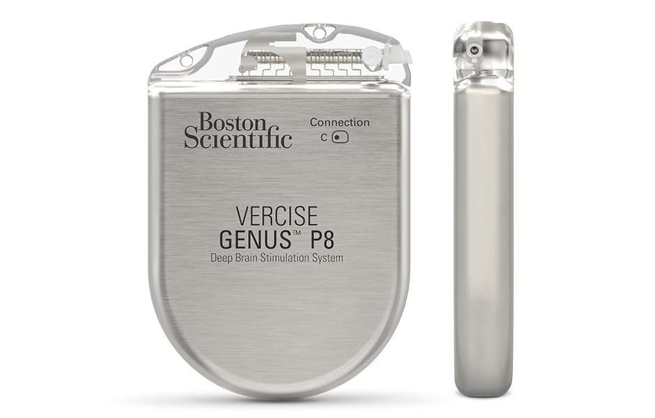 Front and side view of Vercise Genus DBS System P8 IPG.