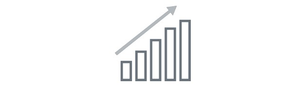 Icon of bar graph increasing and arrow pointing up and to the right.