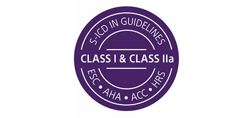 Logo showing that S-ICD is guideline recommended by ESC, AHA, ACC and HRS.