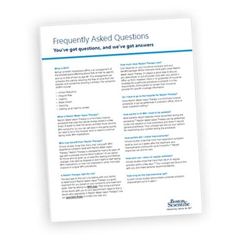 Rezum.com Patient Questionnaire Highlight Card