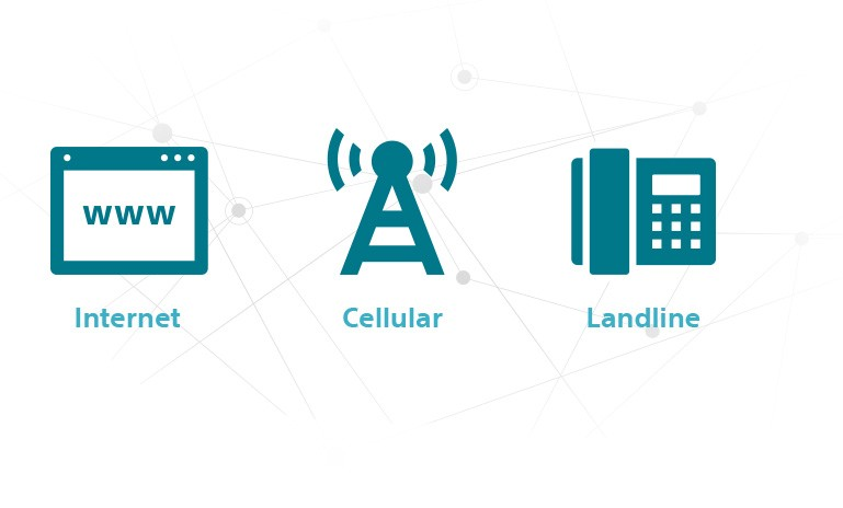 : Icon Showing Internet, Cellular and Landline Connectivity Options for the LATITUDE NXT Remote Patient Management System