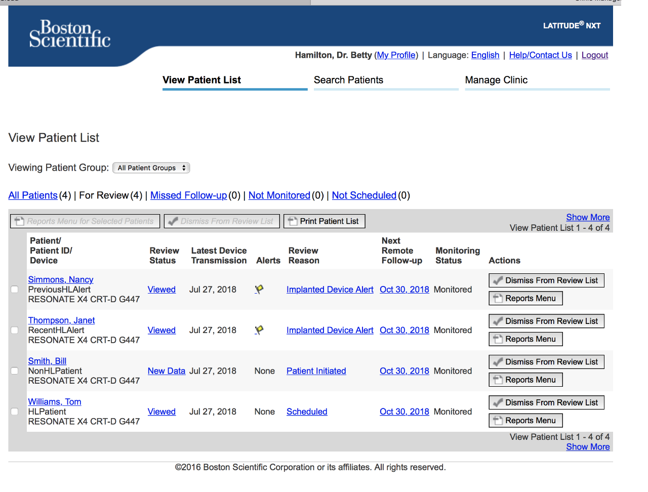 LATITUDE NXT Website Screen Showing Patient Organization Options