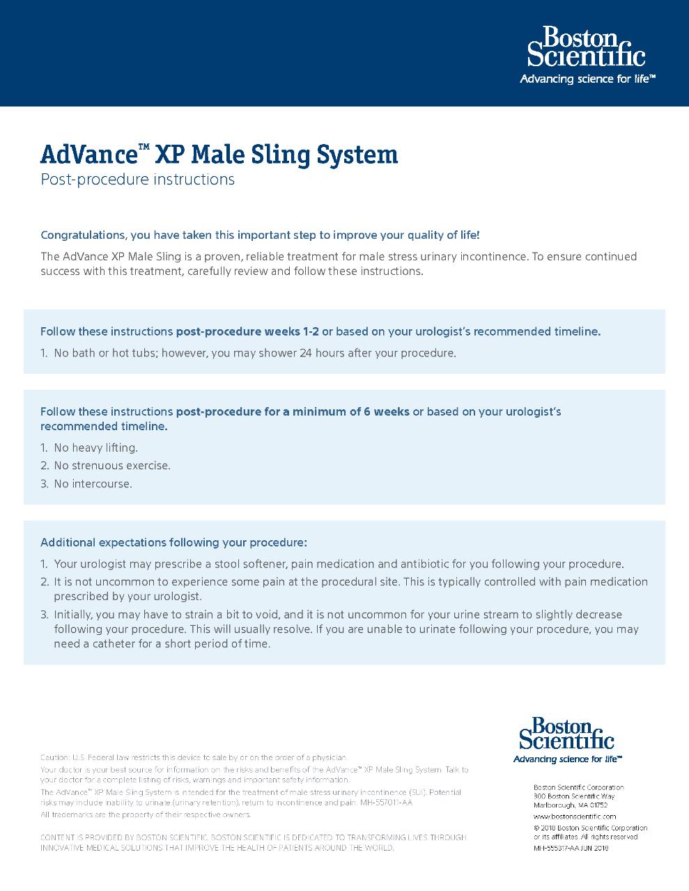 AdVance XP Post Procedure Instructions