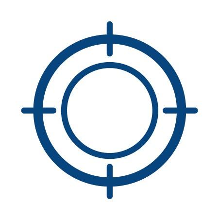Blue circles illustrating target thrombus safety
