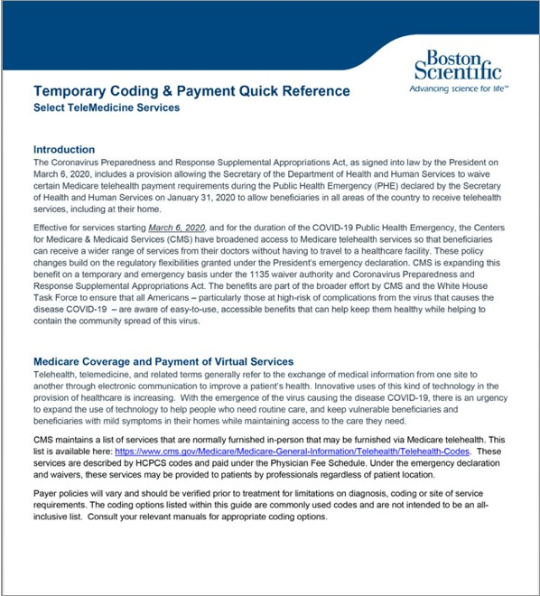 TeleMedicine Coding and Payment Quick Reference thumbnail.