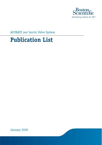 ACURATE neoTM Aortic Valve System Publication List