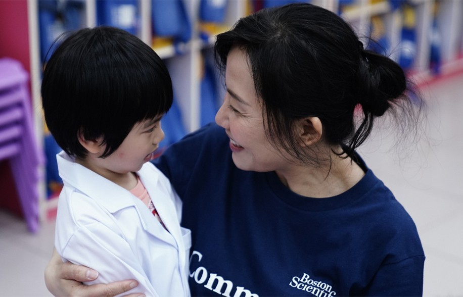 Children in medical scrubs, at the generation of innovators