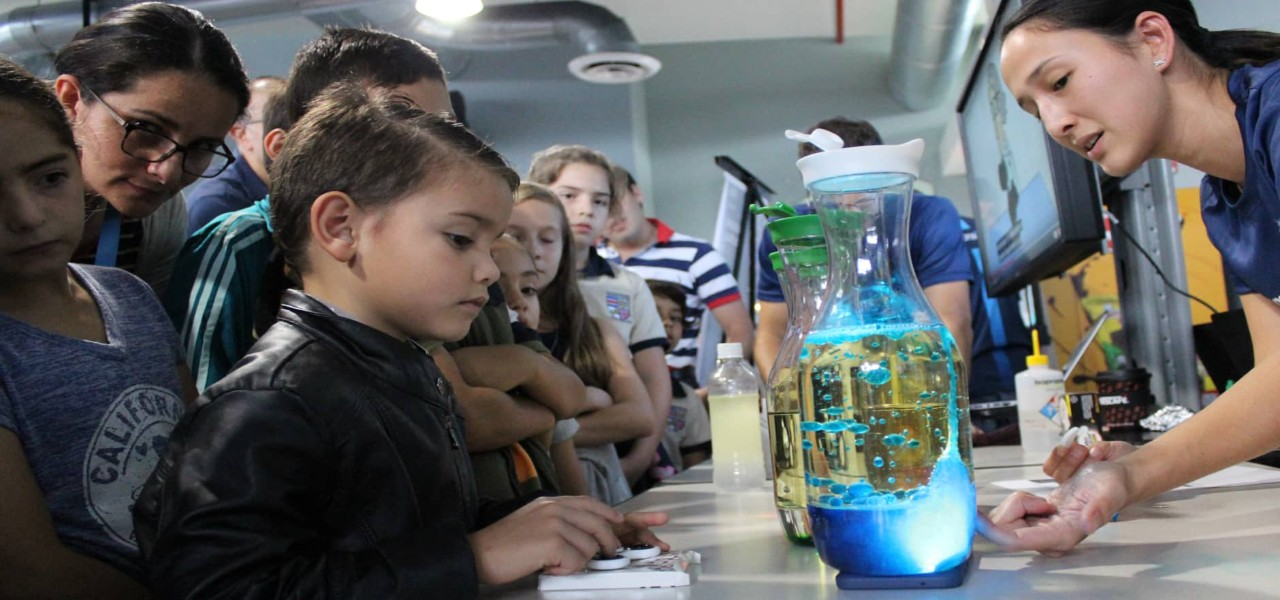 STEM Fair where Boston Scientific employees work with children on Science, technology, engineering and mathematics