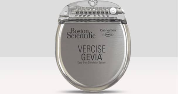 A product shot of the deep brain stimulation device, Vercise Gevia
