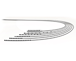 Group of surgical leads bending in a clockwise direction